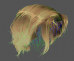 Long hair style with green guide hairs and blue scalp mesh